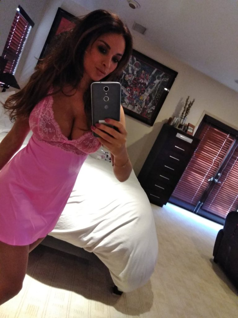 pornstar Anissa Kate in pink lingerie taking selfie
