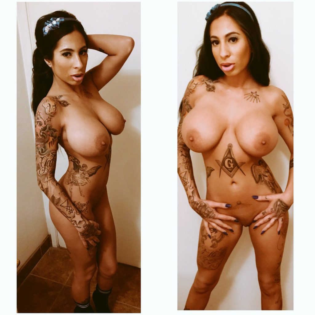 tattoo model Stacy Jay posing naked