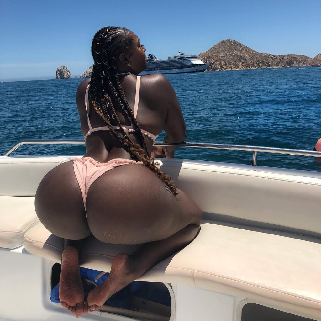 Black Gabby Doll shows her big booty in bikini on boat