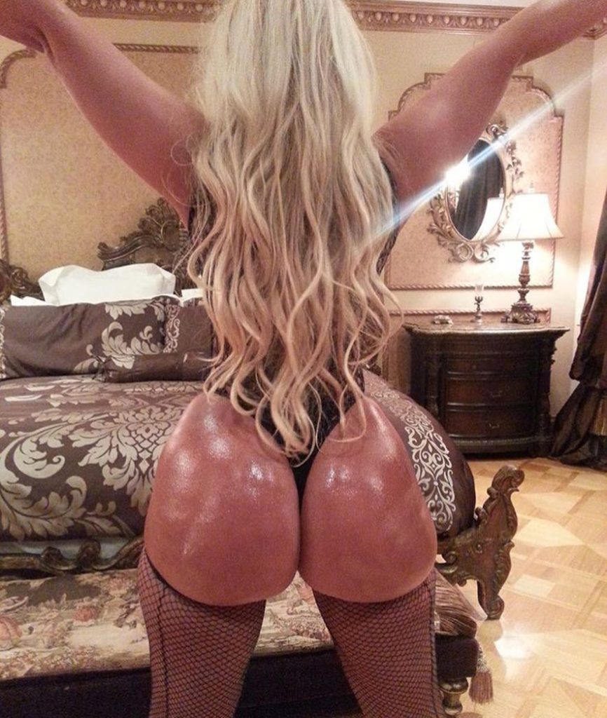 long haired PAWG Jenna Shea in thong shows her big oiled up ass