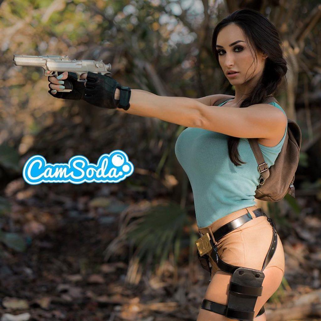Reya Sunshine as Lara Croft does Tomb Raider cosplay webcam show on Camsoda.com