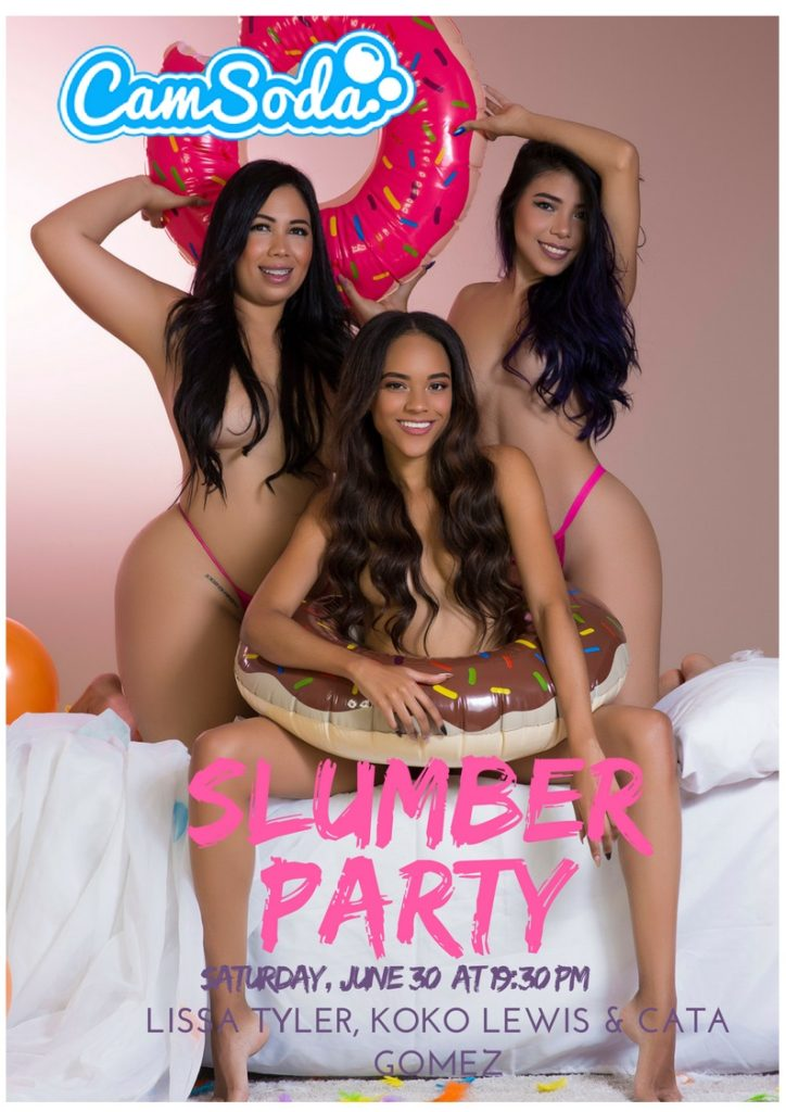 slumber party with Cata Gomez, Koko Lewis and Lissa Tyler on Camsoda