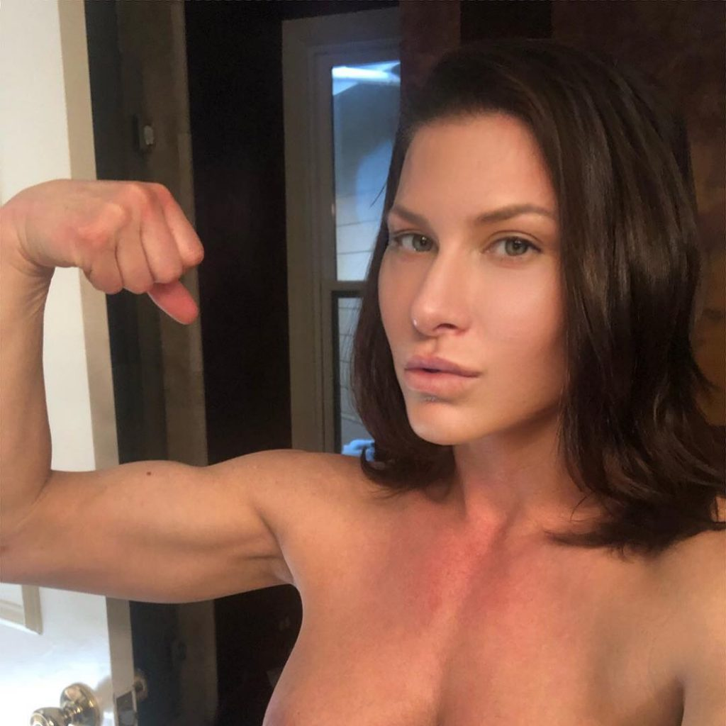 naked Ariel X shows her muscles