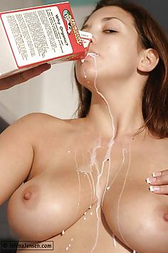 Jelena Jensen gets wet with milk